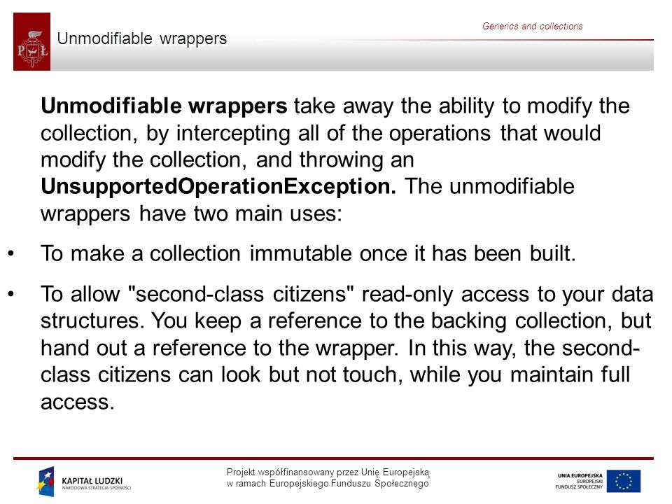 Unmodifiable wrappers