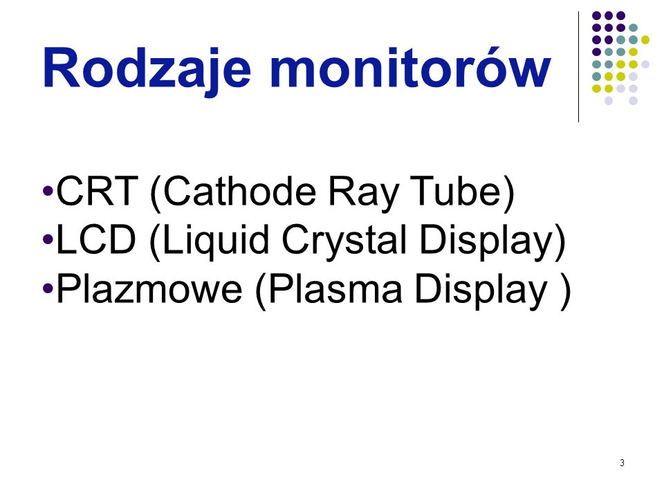 Rodzaje monitorów CRT (Cathode Ray Tube) LCD (Liquid Crystal Display)