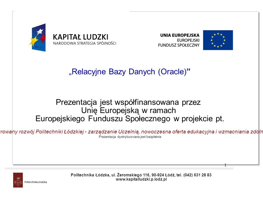 """Relacyjne Bazy Danych (Oracle)"