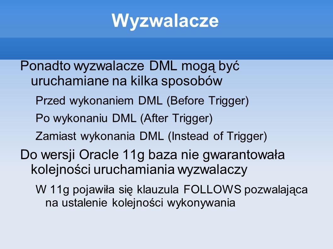 WyzwalaczePonadto wyzwalacze DML mogą być uruchamiane na kilka sposobów. Przed wykonaniem DML (Before Trigger)