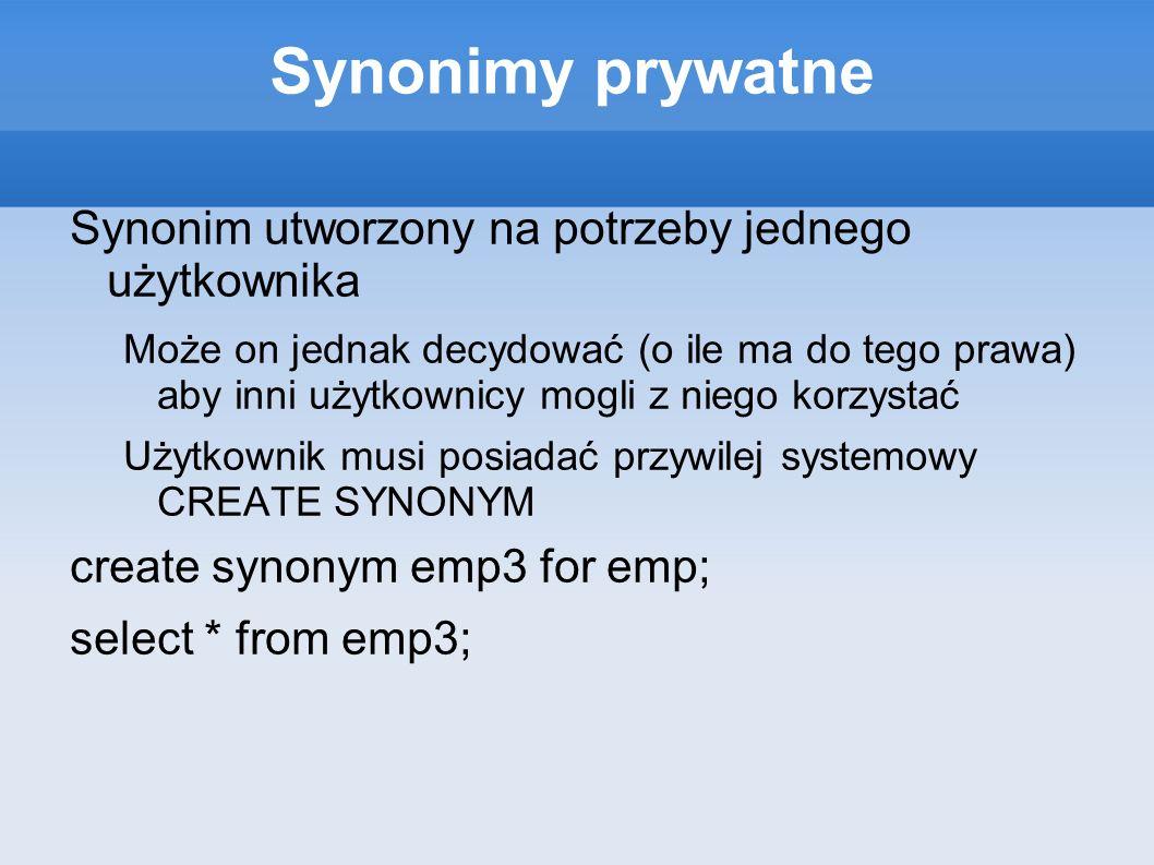 Synonimy prywatne Synonim utworzony na potrzeby jednego użytkownika