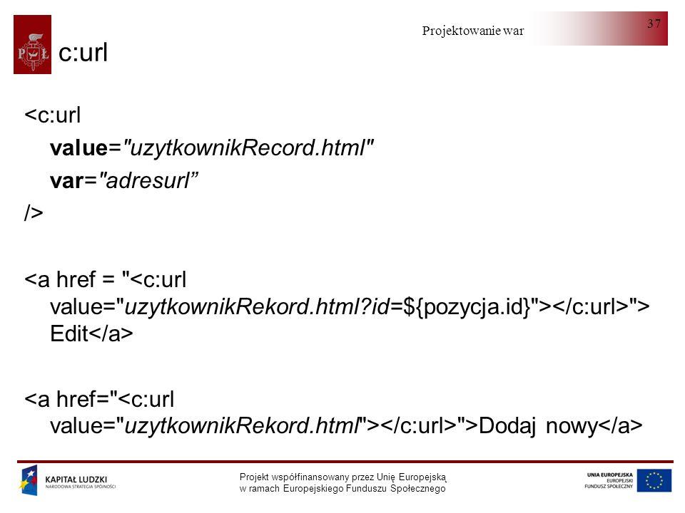 c:url <c:url value= uzytkownikRecord.html var= adresurl />