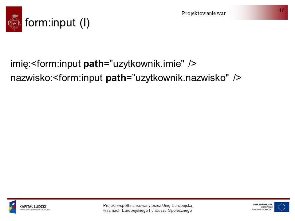 form:input (I) imię:<form:input path= uzytkownik.imie />