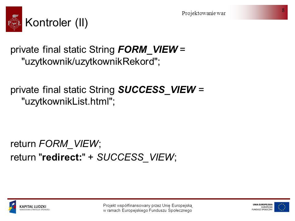 Kontroler (II) private final static String FORM_VIEW = uzytkownik/uzytkownikRekord ;
