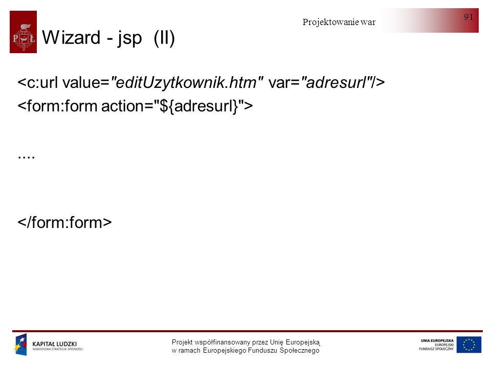 Wizard - jsp (II) <c:url value= editUzytkownik.htm var= adresurl /> <form:form action= ${adresurl} >