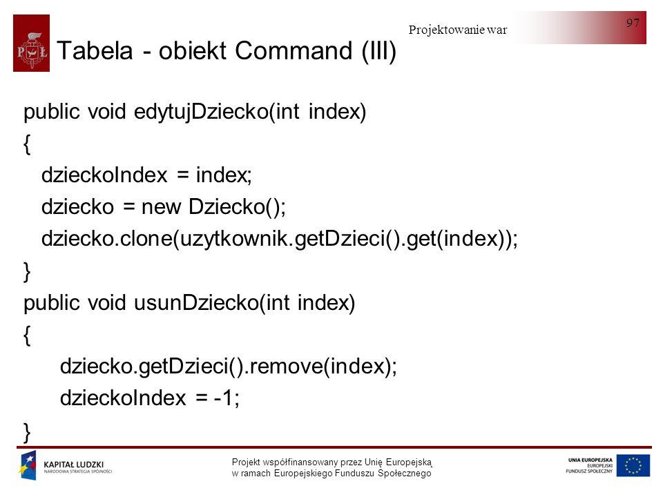 Tabela - obiekt Command (III)