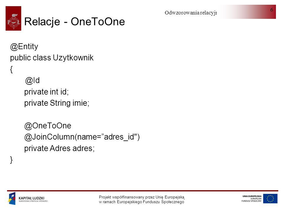 Relacje - OneToOne @Entity public class Uzytkownik { @Id