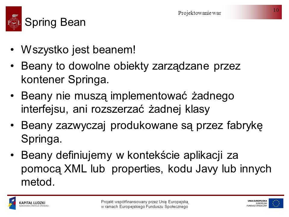 Beany to dowolne obiekty zarządzane przez kontener Springa.