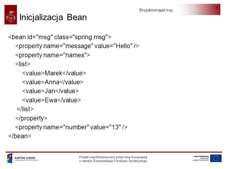 Inicjalizacja Bean <bean id= msg class= spring.msg >