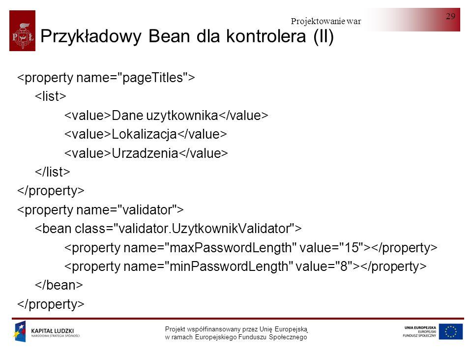 Przykładowy Bean dla kontrolera (II)