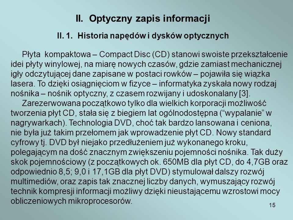 II. Optyczny zapis informacji