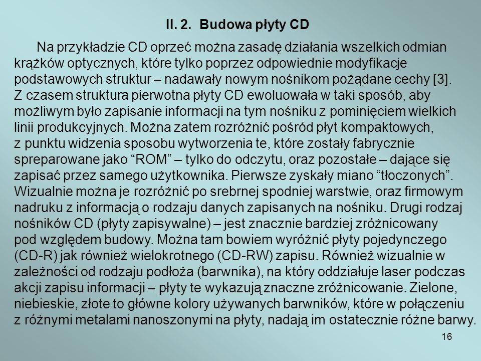 II. 2. Budowa płyty CD Na przykładzie CD oprzeć można zasadę działania wszelkich odmian.