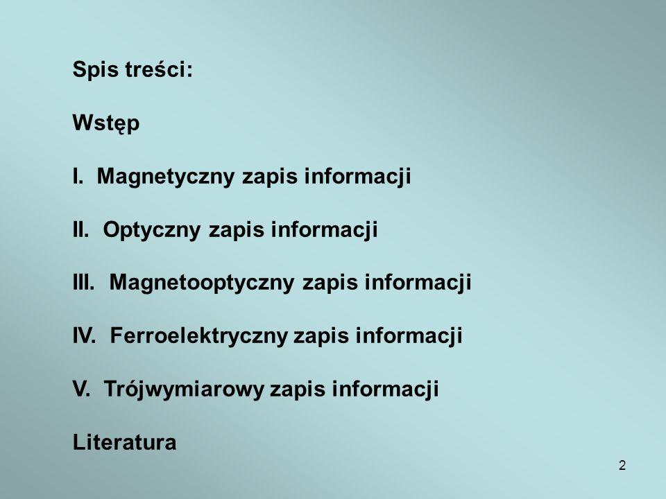 Spis treści: Wstęp. I. Magnetyczny zapis informacji. II. Optyczny zapis informacji. III. Magnetooptyczny zapis informacji.