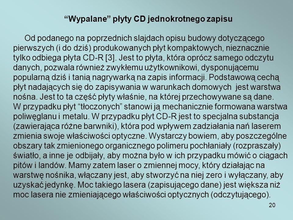 Wypalane płyty CD jednokrotnego zapisu