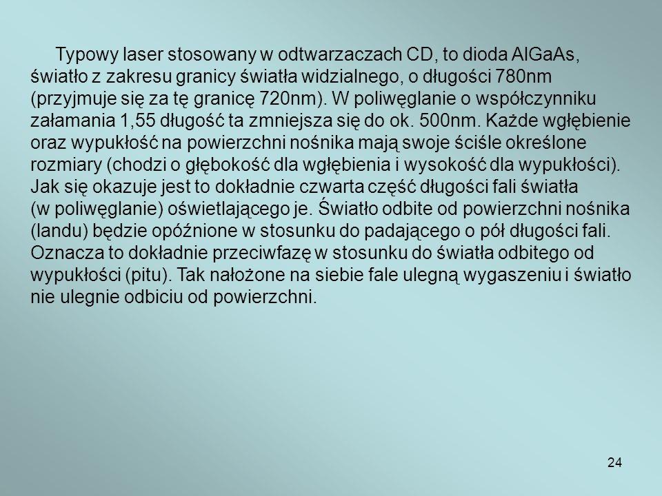 Typowy laser stosowany w odtwarzaczach CD, to dioda AlGaAs,