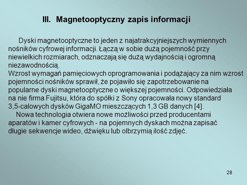 III. Magnetooptyczny zapis informacji