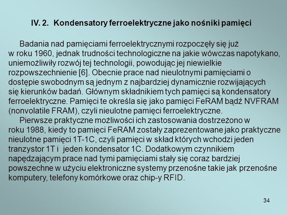 IV. 2. Kondensatory ferroelektryczne jako nośniki pamięci