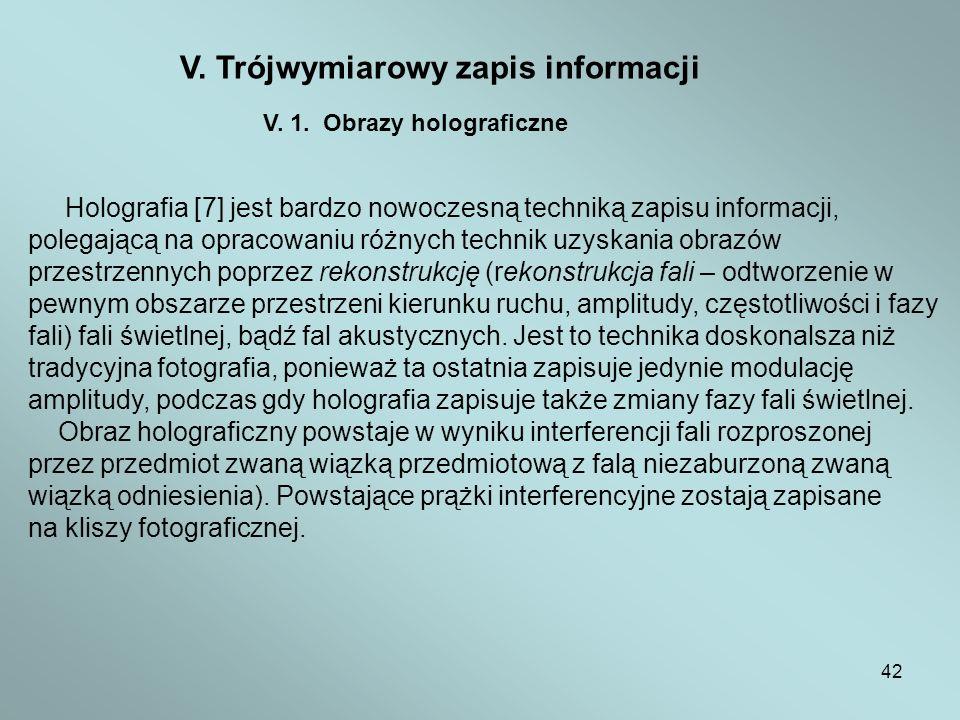 V. Trójwymiarowy zapis informacji