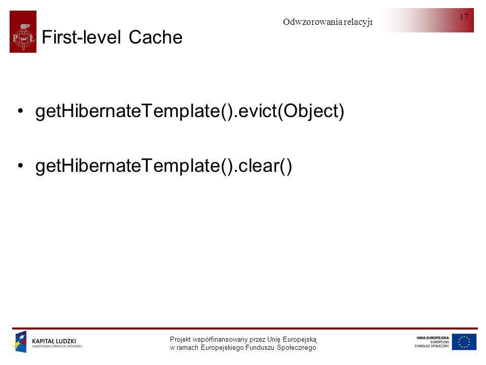 getHibernateTemplate().evict(Object) getHibernateTemplate().clear()