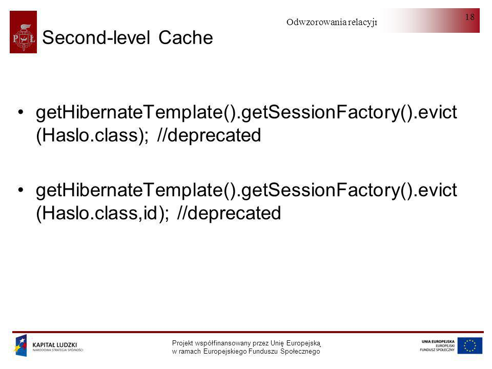 Second-level Cache getHibernateTemplate().getSessionFactory().evict (Haslo.class); //deprecated.