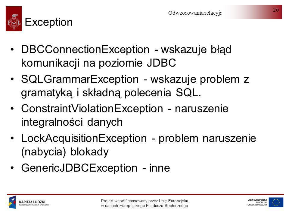 DBCConnectionException - wskazuje błąd komunikacji na poziomie JDBC
