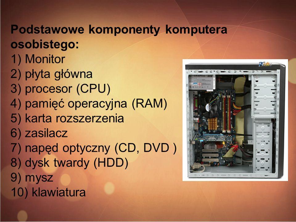 Podstawowe komponenty komputera osobistego: 1) Monitor 2) płyta główna 3) procesor (CPU) 4) pamięć operacyjna (RAM) 5) karta rozszerzenia 6) zasilacz 7) napęd optyczny (CD, DVD ) 8) dysk twardy (HDD) 9) mysz 10) klawiatura