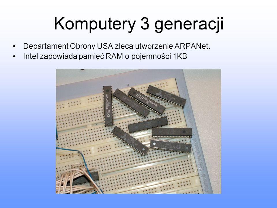 Komputery 3 generacji Departament Obrony USA zleca utworzenie ARPANet.