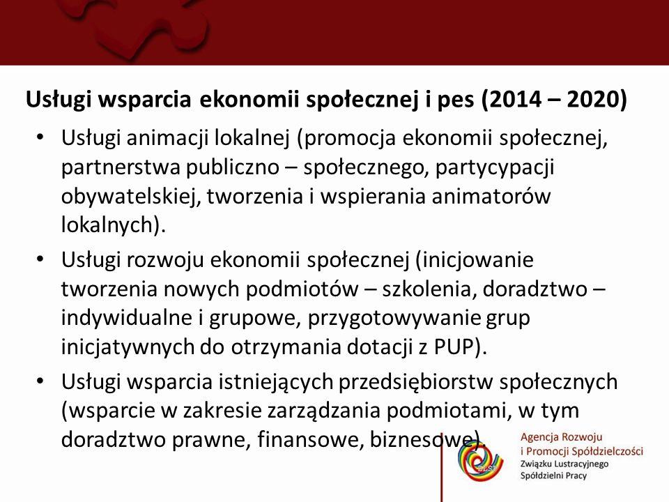 Usługi wsparcia ekonomii społecznej i pes (2014 – 2020)