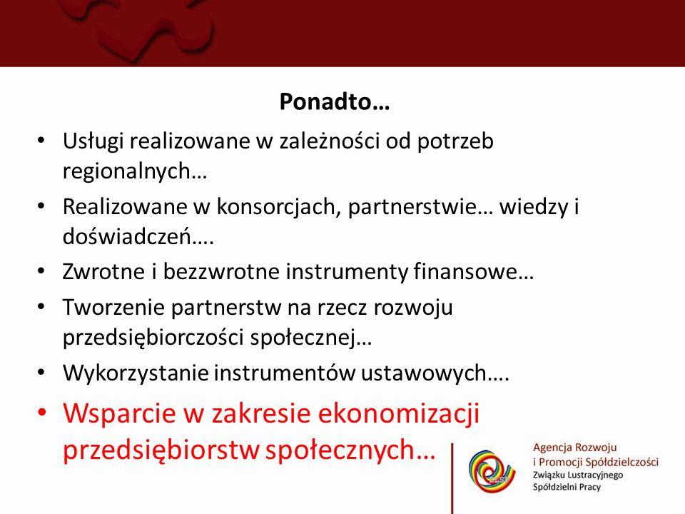 Wsparcie w zakresie ekonomizacji przedsiębiorstw społecznych…