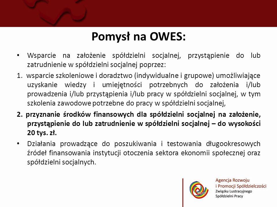 Pomysł na OWES: Wsparcie na założenie spółdzielni socjalnej, przystąpienie do lub zatrudnienie w spółdzielni socjalnej poprzez: