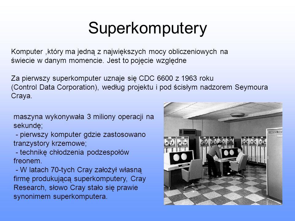 Superkomputery Komputer ,który ma jedną z największych mocy obliczeniowych na. świecie w danym momencie. Jest to pojęcie względne.