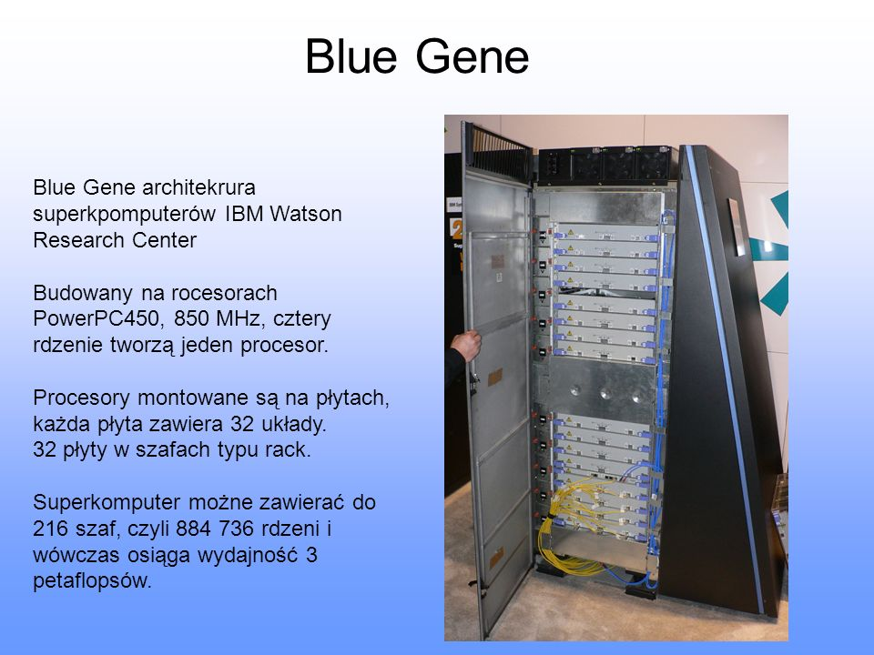 Blue Gene Blue Gene architekrura superkpomputerów IBM Watson Research Center.