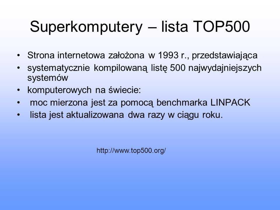 Superkomputery – lista TOP500