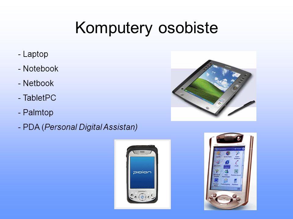 Komputery osobiste - Laptop - Notebook - Netbook - TabletPC - Palmtop