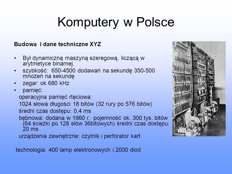 Komputery w Polsce Budowa i dane techniczne XYZ