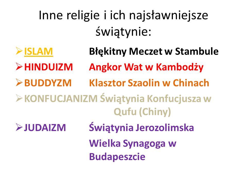 Inne religie i ich najsławniejsze świątynie: