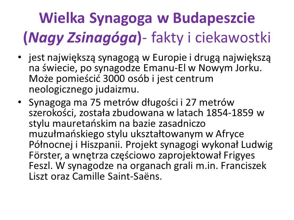 Wielka Synagoga w Budapeszcie (Nagy Zsinagóga)- fakty i ciekawostki