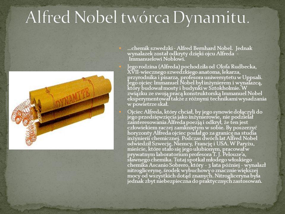 Alfred Nobel twórca Dynamitu.