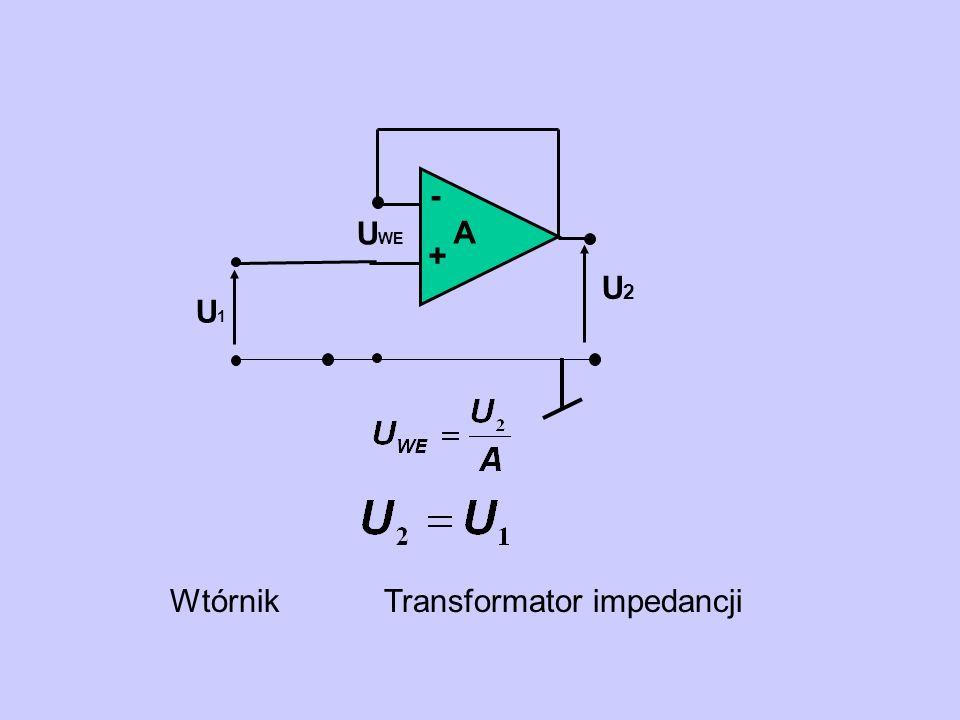 - + A U2 U1 UWE Wtórnik Transformator impedancji