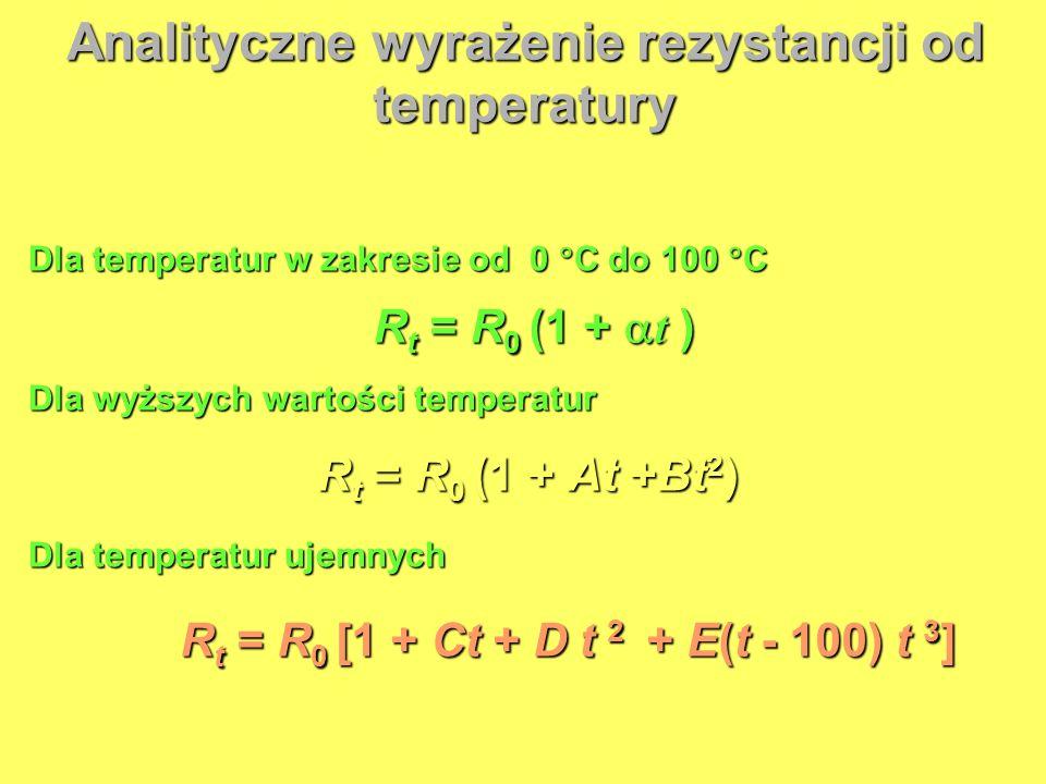 Analityczne wyrażenie rezystancji od temperatury