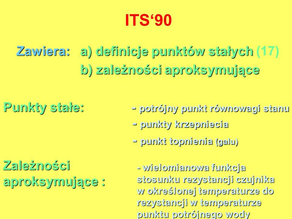 ITS'90 Zawiera: a) definicje punktów stałych (17)