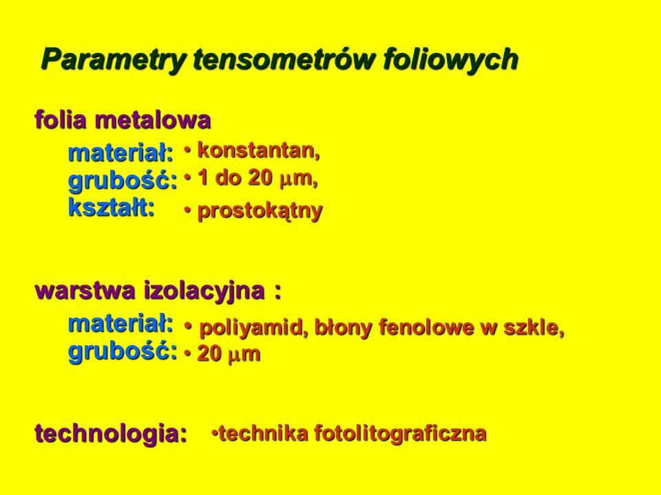 Parametry tensometrów foliowych