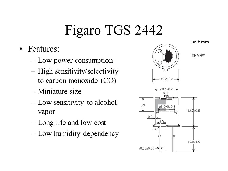 Figaro TGS 2442 Features: Low power consumption