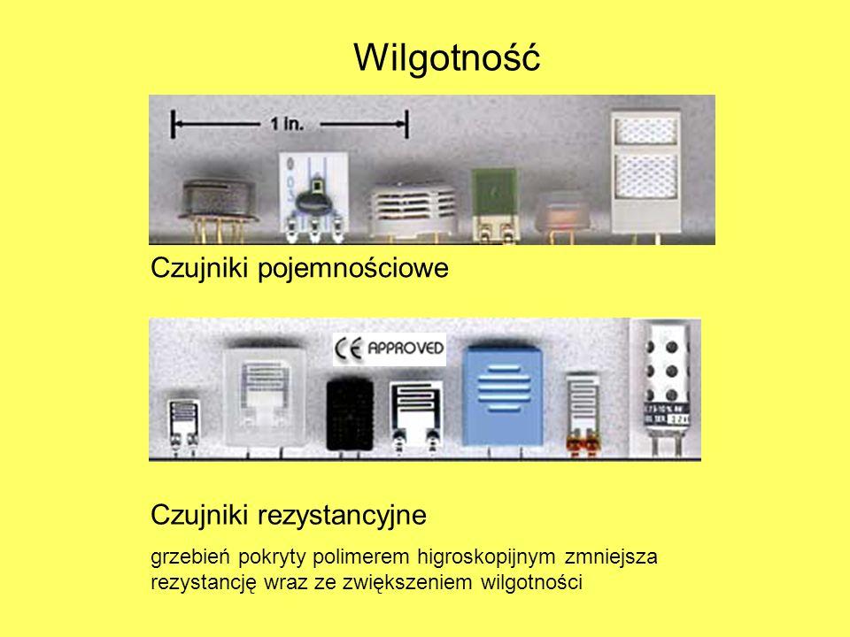Wilgotność Czujniki pojemnościowe Czujniki rezystancyjne