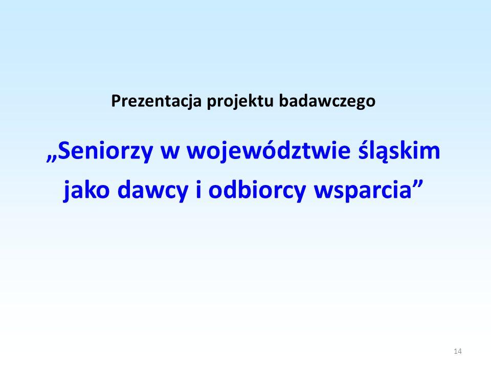 """""""Seniorzy w województwie śląskim jako dawcy i odbiorcy wsparcia"""