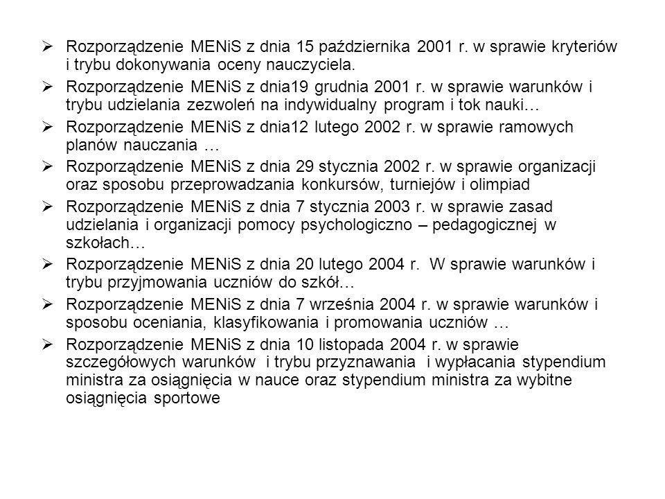 Rozporządzenie MENiS z dnia 15 października 2001 r