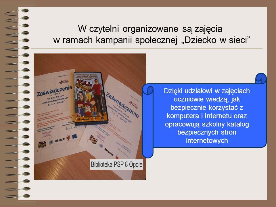 W czytelni organizowane są zajęcia