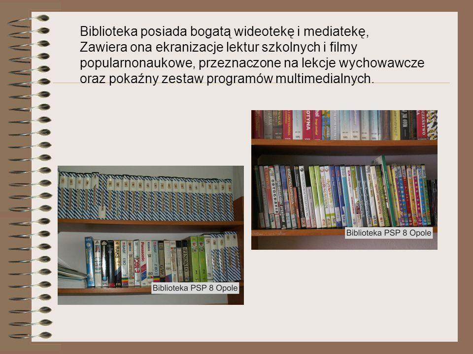 Biblioteka posiada bogatą wideotekę i mediatekę,