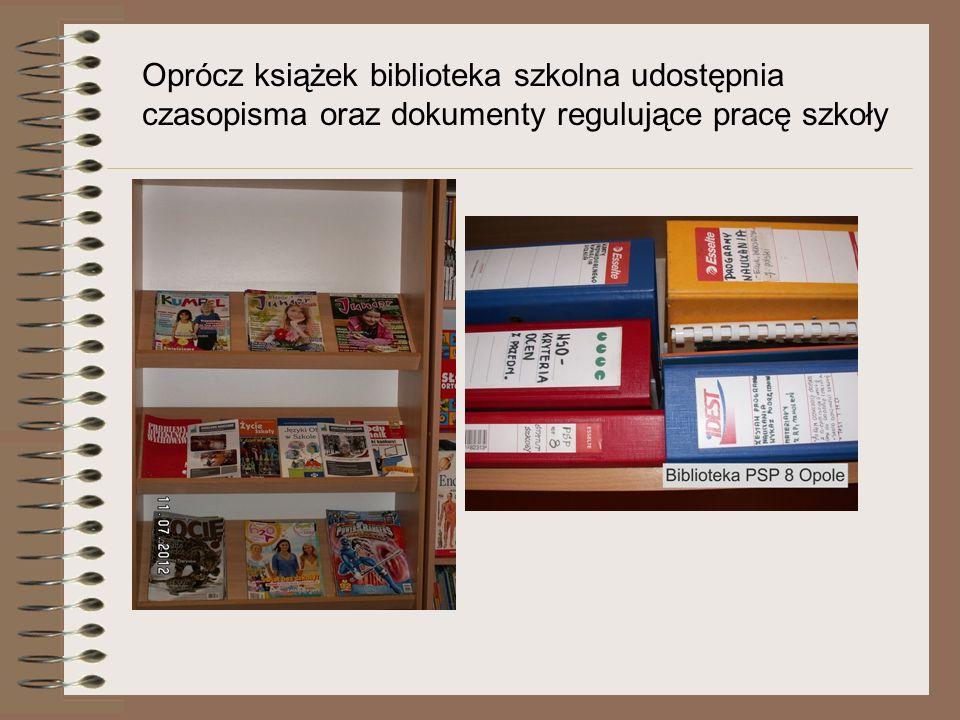 Oprócz książek biblioteka szkolna udostępnia czasopisma oraz dokumenty regulujące pracę szkoły