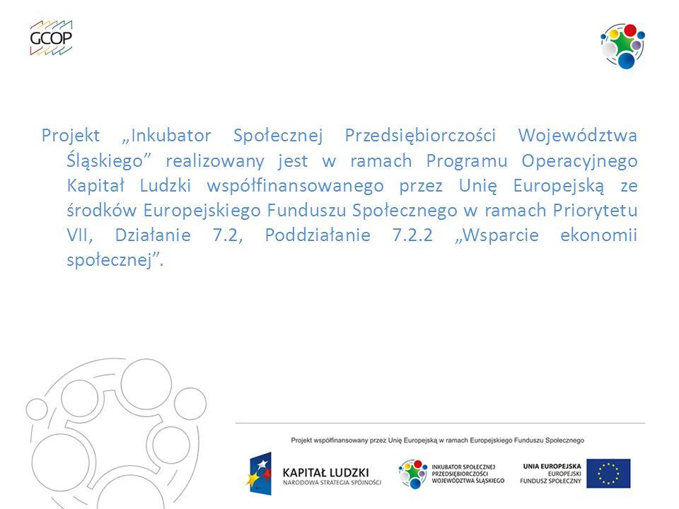 """Projekt """"Inkubator Społecznej Przedsiębiorczości Województwa Śląskiego realizowany jest w ramach Programu Operacyjnego Kapitał Ludzki współfinansowanego przez Unię Europejską ze środków Europejskiego Funduszu Społecznego w ramach Priorytetu VII, Działanie 7.2, Poddziałanie 7.2.2 """"Wsparcie ekonomii społecznej ."""